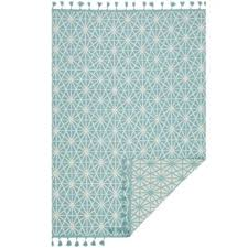 Aqua Area Rug Modern Contemporary Union Rustic Stasia Woven Ivory Black