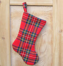 royal stewart tartan christmas stocking made from upcycled wool
