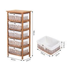 Drawer Storage Units Homcom 5 Drawers Storage Unit Wooden Frame W Wicker Woven Baskets