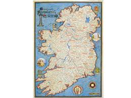 beautiful irish map showing ancestral homeland of thousands of
