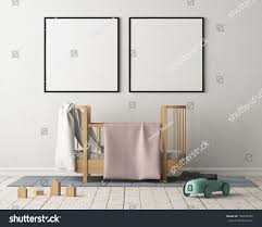 mock poster childrens bedroom pastel colors stock illustration