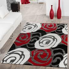 Wohnzimmer Design Rot Designer Teppich Wohnzimmer Blumen Rosen Design Optik Schwarz Rot