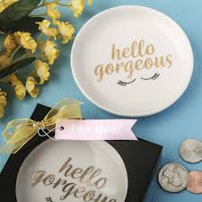 chagne wedding favors hello gorgeous white ceramic jewelry change dish white ceramics