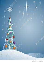 White Christmas Tree With Blue Decorations Snowy Christmas Tree Illustration