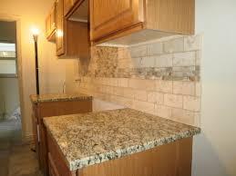 Kitchen Backsplash Ideas With Granite Countertops Travertine Tile Backsplash Backsplash Just Completed 3x6
