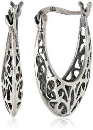 filigree earrings sterling silver bali inspired filigree hoop