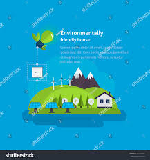 Eco Friendly House by Village Landscape Environmentally Friendly House Flat Stock Vector
