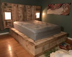 How To Make A Platform Bed Frame With Pallets by Pallet Headboard Etsy