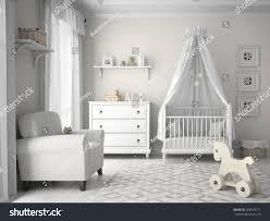classic children room white color 3d stock illustration 304214771