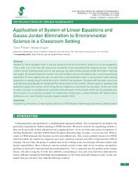 application of system of linear equations and gauss jordan
