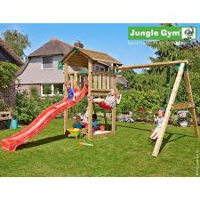 gym wooden jungle cottage climbing frame playset with double swing