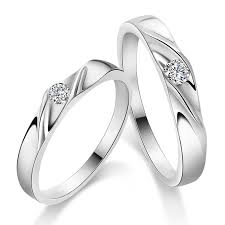 Promise Ring Engagement Ring And Wedding Ring Set by Couple 925 Sterling Silver Mens Ladies Promise Ring Wedding Bands