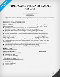 Graphic Artist Resume Examples by Video Game Designer Resume Sample Resumecompanion Com