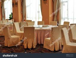 interior chinese restaurant round tables chairs stock photo