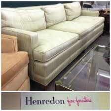 Henredon Leather Sofa Furniture White Henredon Sofa With Round Ottoman And Table For