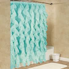 Ruffled Shower Curtains Chic Sheer Voile Vertical Waterfall Ruffled Shower Curtain Free
