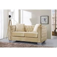 meridian furniture 648be l reese beige velvet loveseat w tufted