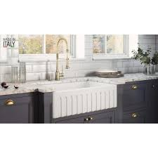 home depot kitchen sink vanity ruvati farmhouse apron front fireclay 33 in x 20 in