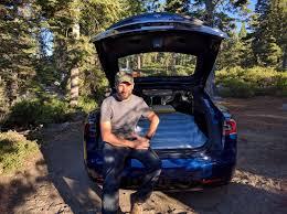 lexus cardboard electric car tesla camper mode i went camping in the trunk of a model s