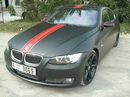 bmw black bmw 335i matte black with red stripe foilacar