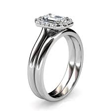 emerald cut wedding set platinum emerald cut diamond halo wedding set union diamond
