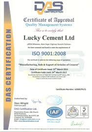 Quality Certification Letter certifications lucky cement