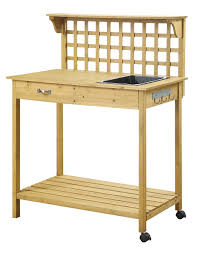 Wooden Potting Benches Natural Wood Finish Potting Bench With Trellis Shelving And Sink