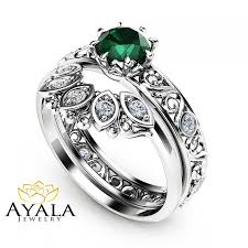 white emerald rings images 1 2 ct natural emerald engagement ring set 14k white gold rings jpg
