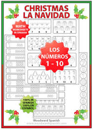 spanish math christmas worksheets counting numbers 1 to 10 tpt