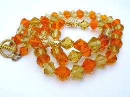 gold orange necklace images Yellow and orange glass bead necklace gold tone 26 quot long beaded jpg