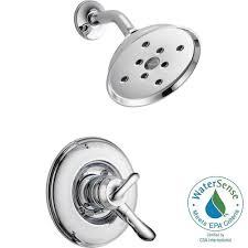 delta lahara 1 handle 1 spray shower faucet trim kit in chrome
