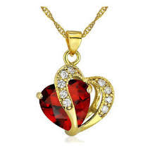 crystal necklace ebay images Fashion women heart red crystal rhinestone gold chain pendant jpg