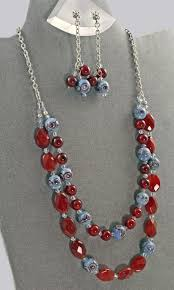 bead necklace images images Handmade jewelry gypsy jewels blue red and silver necklace and jpg