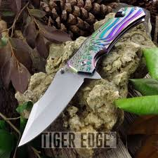 Fold Flag Military Style Spring Assisted Folding Knife Eagle Rainbow American Flag Tactical