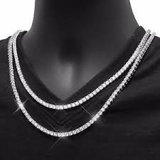 chain necklace white gold images Mens tennis necklace 14k white gold finish lab diamonds 3mm choker jpg