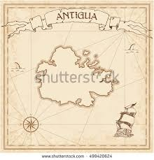 antigua old treasure map sepia engraved stock vector 499420624