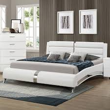 Bedroom  New Modern White Leather Bed Frame A Couple White - White leather queen bedroom set