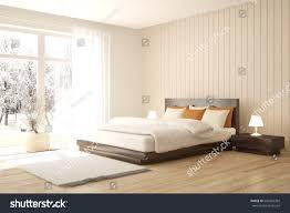 bedroom winter landscape window scandinavian stock