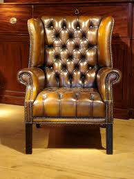 Armchairs Uk Sale Sold Pair Of Brown Leather Wing Armchairs Antique Chairs Benches
