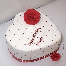 Beautiful Heart Shaped Birthday Shweta Name Cakes With Red Rose Pics
