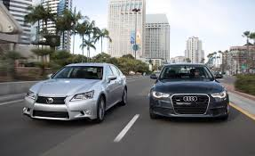 lexus is 250 vs audi s3 2012 audi a6 3 0t quattro vs 2013 lexus gs350 comparison test
