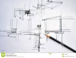 draft hand drawing architecture plan with pencil royalty free
