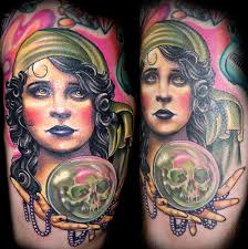 color vintage fortune teller tattoo by nate beavers tattoos