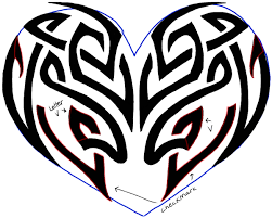 how to draw a tribal heart tattoo design with easy step by step