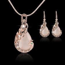 fashion necklace earring sets images Pink opal peacock necklace and earring set trend elf jpg
