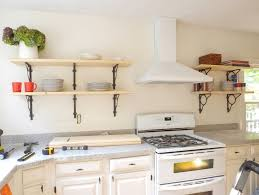 kitchen wall shelf ideas kitchen wall shelves with plate and modern stove 4710
