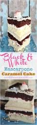 black and white cake with mascarpone u0026 caramel buttercream peas