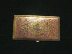 Vintage Business Card Case 1930s Trench Art Cigarette Case Alpaca Silver Case Taj Mahal