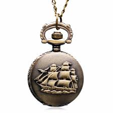 pocket watch chain necklace images Steampunk retro sailboat warship pirate ship quartz pocket watch jpg