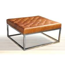 brown leather square ottoman square ottoman coffee table horizon club brown leather stainless